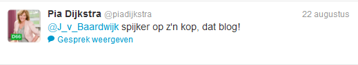 Pia Dijkstra reageert via Twitter